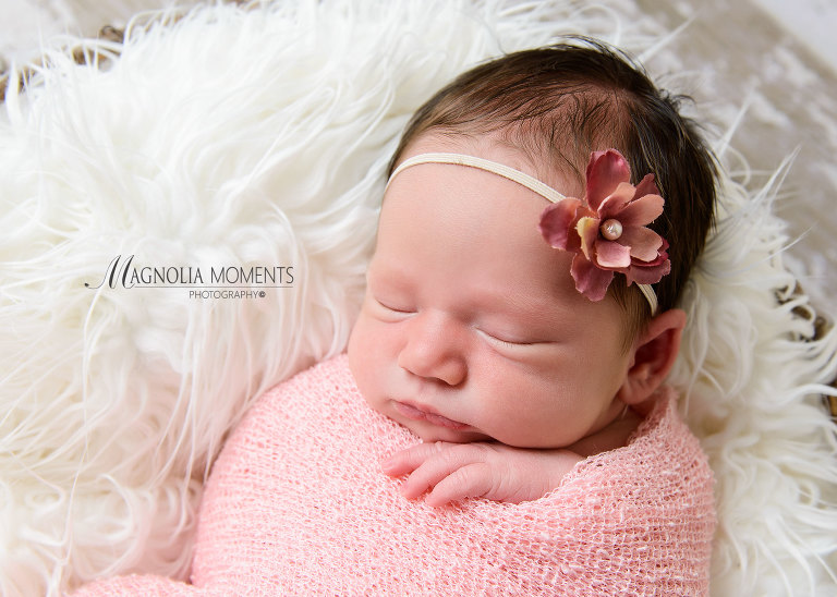 newborn baby girl wrapped in pink for her newborn photoshoot photographed by newborn photographer Evan Pollock of Magnolia Moments Photography located in Collegeville PA Phoenixville newborn photographer