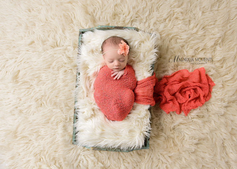 Adorable newborn girl wrapped in pink wrap in fur lined box during her newborn photoshoot by Evan Pollock of Magnolia Moments Photography on of the newborn photographers near me - Collegeville newborn photography