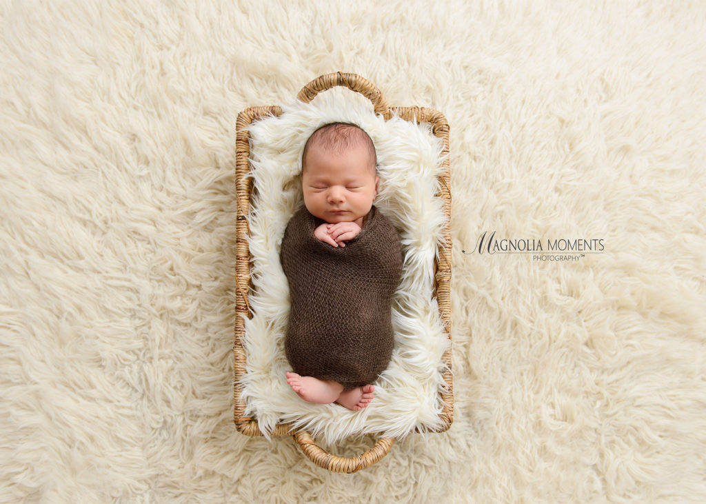 Newborn baby boy wrapped in brown and posed in a fur lined basket for his newborn portrait session by Evan Pollock of Magnolia Moments Photography who does professional photography near me.